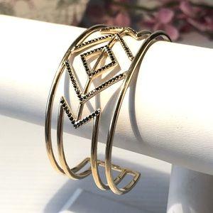 💝Stella & Dot Bracelet Chevron Cuff GOLD & BLACK